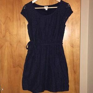 Merona navy lace dress with belt and pockets